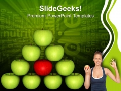 Balancing Diet Green Apple Isolated Health PowerPoint Templates Ppt Backgrounds For Slides 0213