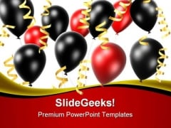 Balloons And Ribbons Festival PowerPoint Themes And PowerPoint Slides 0511