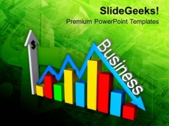 Bar Graph With Arrow Business Ups And Downs PowerPoint Templates Ppt Backgrounds For Slides 0413