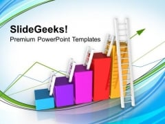 Bar Graph With Ladder Statistical Business PowerPoint Templates Ppt Backgrounds For Slides 0213