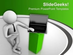 Be Good Sales Man To Sell Laptop PowerPoint Templates Ppt Backgrounds For Slides 0713