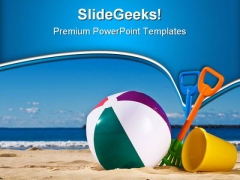 Beach Fun Family PowerPoint Themes And PowerPoint Slides 0411