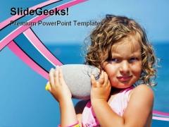 Beach Girl Holidays PowerPoint Template 0910