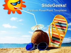 Beach Scene Holidays PowerPoint Backgrounds And Templates 1210