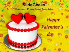 Beautiful Cake With Hearts Valentines Day PowerPoint Templates Ppt Backgrounds For Slides 0213