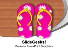 Beautiful Flip Flop For Beach Holiday Theme PowerPoint Templates Ppt Backgrounds For Slides 0513