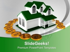 Beautiful House Surrounded By Dollars Insurance PowerPoint Templates Ppt Backgrounds For Slides 0113
