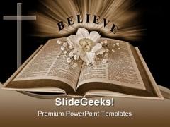 Believe Religion PowerPoint Template 0610