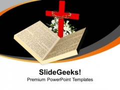 Bible And Cross Are Holy Symbol PowerPoint Templates Ppt Backgrounds For Slides 0713