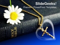 Bible And Gold Crucifix Church PowerPoint Templates And PowerPoint Themes 0812
