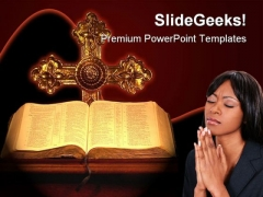 Bible Cross Religion PowerPoint Template 0610