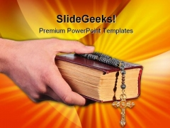 Bible With Cross Religion PowerPoint Templates And PowerPoint Backgrounds 0211