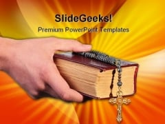 Bible With Cross Religion PowerPoint Themes And PowerPoint Slides 0211