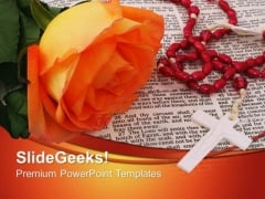 Bible With Rosary Cross Christian PowerPoint Templates And PowerPoint Themes 0712