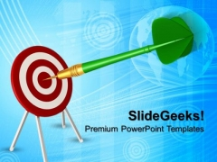 Bid Red Dart Hitting Target Business PowerPoint Templates And PowerPoint Themes 0712