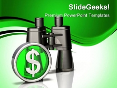 Binoculars Dollar PowerPoint Background And Template 1210