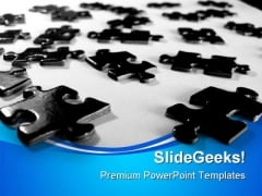 Black Puzzle Pieces Business PowerPoint Templates And PowerPoint Backgrounds 0711