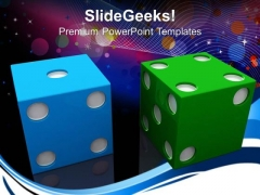 Blue And Green Dices Game Business PowerPoint Templates And PowerPoint Themes 0612