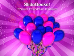 Blue And Pink Ballons Celebration PowerPoint Templates Ppt Backgrounds For Slides 0213