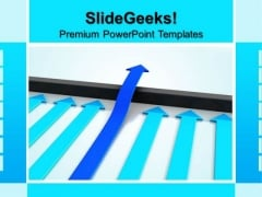 Blue Arrow Jumps Above Barrier Success PowerPoint Templates And PowerPoint Themes 0812