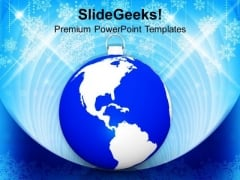 Blue Bauble With Map Global Background PowerPoint Templates Ppt Backgrounds For Slides 1112