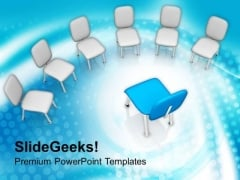 Blue Chair In White Chairs PowerPoint Templates Ppt Backgrounds For Slides 0713