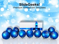 Blue Christmas Balls With Gift Decoration PowerPoint Templates Ppt Backgrounds For Slides 1212