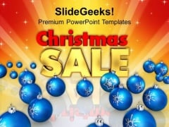 Blue Christmas Bauble With Sale Shopping PowerPoint Templates Ppt Backgrounds For Slides 1112