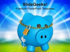 Blue Piggy Bank Investment Security Lock PowerPoint Templates Ppt Backgrounds For Slides 0113