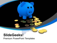 Blue Piggy Bank With Gold Coins PowerPoint Templates Ppt Backgrounds For Slides 0213