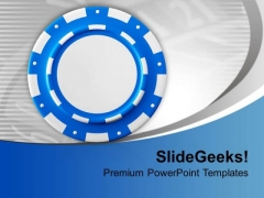 Blue Poker Chip Game Concept PowerPoint Templates Ppt Backgrounds For Slides 0713