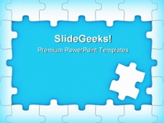 Blue Puzzle Frame Business PowerPoint Themes And PowerPoint Slides 0411
