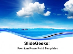 Blue Sky And Ocean Nature PowerPoint Templates And PowerPoint Backgrounds 0611