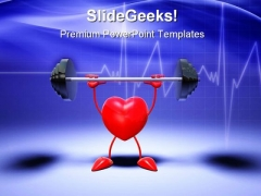 Body Building Heart Health PowerPoint Themes And PowerPoint Slides 0511