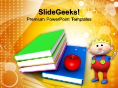 Books And Apple Children PowerPoint Templates And PowerPoint Themes 1012