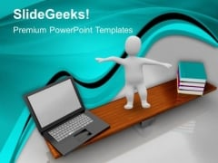 Books And Laptop Education PowerPoint Templates And PowerPoint Themes 1012