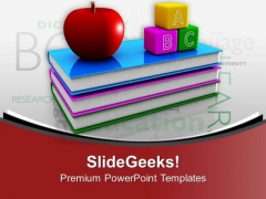 Books With Apple And Blocks Education Theme PowerPoint Templates Ppt Backgrounds For Slides 0313