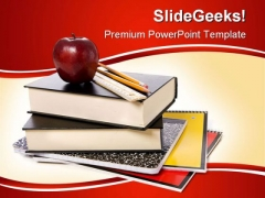 Books With Apple Education PowerPoint Backgrounds And Templates 1210