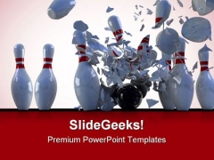 Bowling Pins Destroy Game PowerPoint Templates And PowerPoint Backgrounds 0511