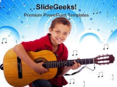 Boy Playing Guitar Music PowerPoint Templates And PowerPoint Backgrounds 0811