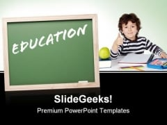 Boy Studying Education PowerPoint Templates And PowerPoint Backgrounds 0711