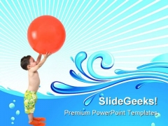 Boy With Ball Beach PowerPoint Themes And PowerPoint Slides 0511