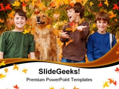 Boys In The Fall Leaves Nature PowerPoint Templates And PowerPoint Backgrounds 0511