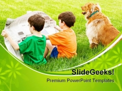 Boys Read Newspaper Children PowerPoint Themes And PowerPoint Slides 0411