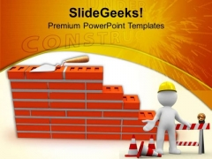 Bricks Wall Construction Background PowerPoint Templates Ppt Backgrounds For Slides 0713