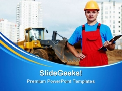 Builder Inspector Construction PowerPoint Themes And PowerPoint Slides 0411