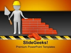 Builder With Helmet And Bricks PowerPoint Templates Ppt Backgrounds For Slides 0713