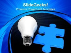 Bulb And Blue Puzzle Technology PowerPoint Templates And PowerPoint Themes 0812