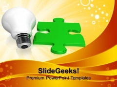 Bulb And Green Puzzle Technology PowerPoint Templates And PowerPoint Themes 1012