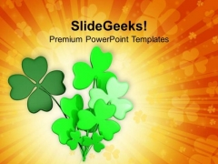 Bunch Of Lucky Clovers Celebration PowerPoint Templates Ppt Backgrounds For Slides 0313